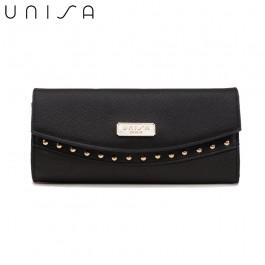 UNISA Saffiano Ladies Bi-Fold Wallet-Black