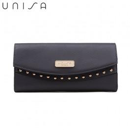 UNISA Saffiano Ladies Bi-Fold Wallet-Navy Blue