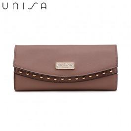UNISA Saffiano Ladies Bi-Fold Wallet-Purple