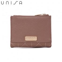 UNISA Quilted Saffiano Medium Bi-Fold Wallet-Purple