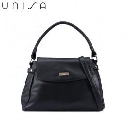 UNISA Faux Leather Convertible Satchel-Black