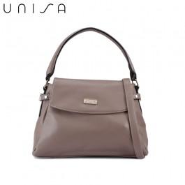 UNISA Faux Leather Convertible Satchel-Khaki
