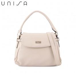 UNISA Faux Leather Convertible Satchel-Beige