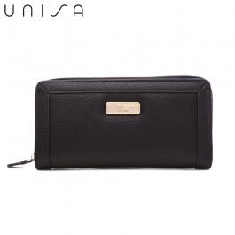 UNISA Textured Long Zip-Up Wallet-Black