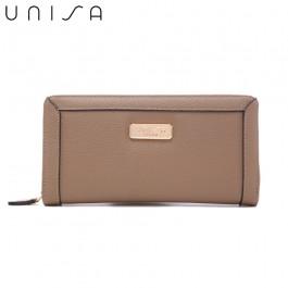 UNISA Textured Long Zip-Up Wallet-Khaki