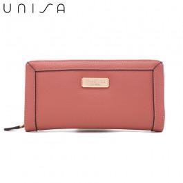 UNISA Textured Long Zip-Up Wallet-Pink