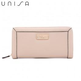 UNISA Textured Long Zip-Up Wallet-Beige