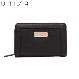 UNISA Textured Medium Zip-Up Wallet-Black