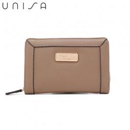 UNISA Textured Medium Zip-Up Wallet-Khaki
