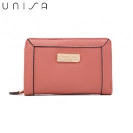 UNISA Textured Medium Zip-Up Wallet-Pink