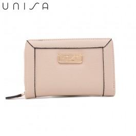 UNISA Textured Medium Zip-Up Wallet-Beige