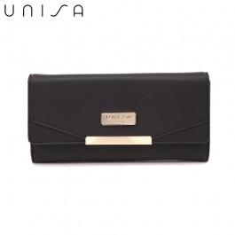 UNISA Faux Leather Contrast Edge Bi-Fold Long Wallet-Black