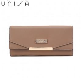 UNISA Faux Leather Contrast Edge Bi-Fold Long Wallet-Khaki