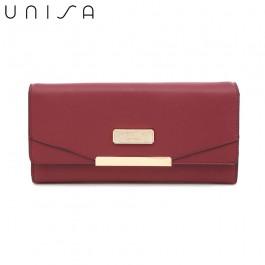 UNISA Faux Leather Contrast Edge Bi-Fold Long Wallet-Maroon
