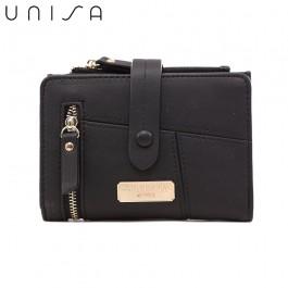 UNISA Faux Leather Contrast Edge Bi-Fold Medium Wallet-Black