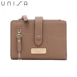UNISA Faux Leather Contrast Edge Bi-Fold Medium Wallet-Khaki
