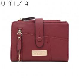 UNISA Faux Leather Contrast Edge Bi-Fold Medium Wallet-Maroon