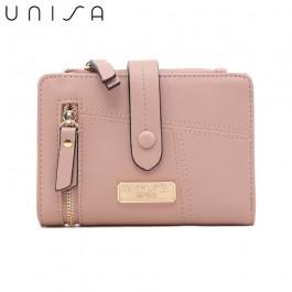 UNISA Faux Leather Contrast Edge Bi-Fold Medium Wallet-Pink