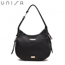 UNISA Duo Texture Adjustable Strap Shoulder Bag-Black