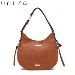 UNISA Duo Texture Adjustable Strap Shoulder Bag-Brown