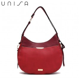 UNISA Duo Texture Adjustable Strap Shoulder Bag-Maroon