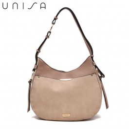 UNISA Duo Texture Adjustable Strap Shoulder Bag-Taupe