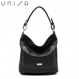 UNISA Duo Texture Convertible Hobo Bag-Black