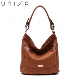 UNISA Duo Texture Convertible Hobo Bag-Brown