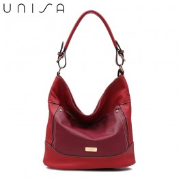UNISA Duo Texture Convertible Hobo Bag-Maroon
