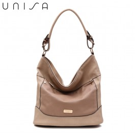 UNISA Duo Texture Convertible Hobo Bag-Taupe