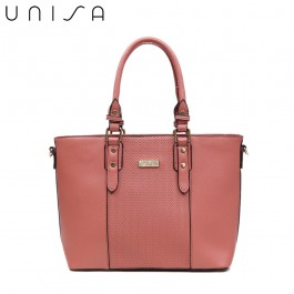 UNISA Deboss Convertible Top Handle Bag-Pink