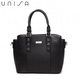 UNISA Deboss Convertible Multi-Compartment Top Handle Bag-Black