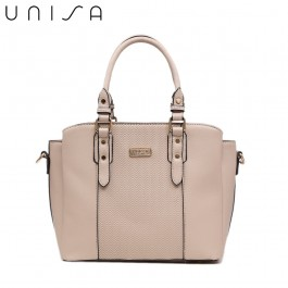 UNISA Deboss Convertible Multi-Compartment Top Handle Bag-Taupe