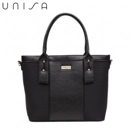 UNISA Deboss Convertible Top Handle Bag-Black