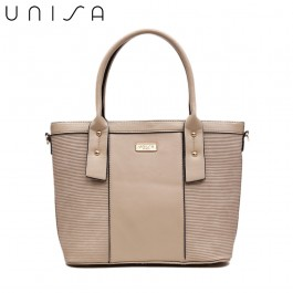 UNISA Deboss Convertible Top Handle Bag-Taupe