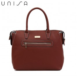 UNISA Saffiano Convertible Shoulder Bag With Front Zip-Brown
