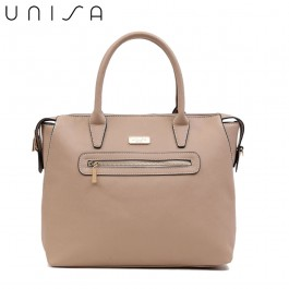 UNISA Saffiano Convertible Shoulder Bag With Front Zip-Taupe