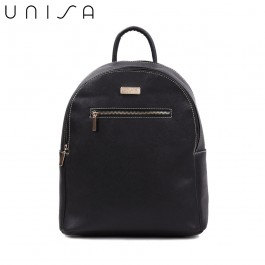 UNISA Saffiano Backpack With Front Zip-Black
