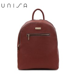 UNISA Saffiano Backpack With Front Zip-Brown