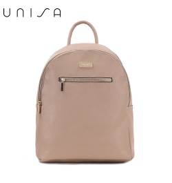 UNISA Saffiano Backpack With Front Zip-Taupe