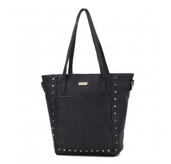 UNISA Pebbled Studded Fashion Convertible Tote Bag-Black