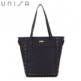UNISA Pebbled Studded Fashion Convertible Tote Bag-Black