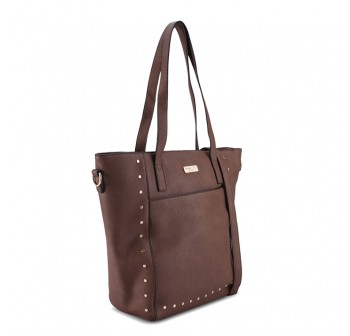 UNISA Pebbled Studded Fashion Convertible Tote Bag-Brown