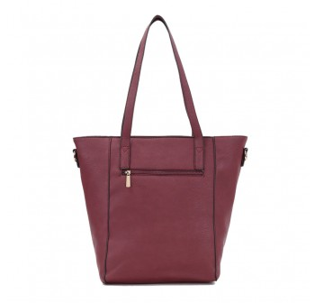 UNISA Pebbled Studded Fashion Convertible Tote Bag-Maroon