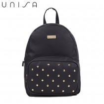 UNISA Pebbled Studded Backpack-Black