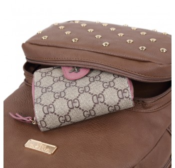 UNISA Pebbled Studded Backpack-Brown