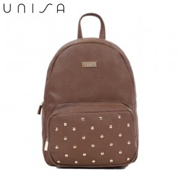 UNISA Pebbled Studded Backpack-Brown