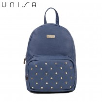 UNISA Pebbled Studded Backpack-Navy Blue