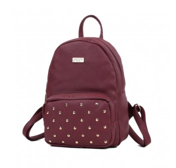 UNISA Pebbled Studded Backpack-Maroon
