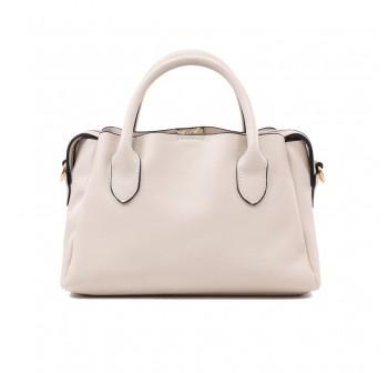 UNISA Faux Leather Convertible Top Handle Bag-Beige